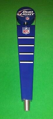 "13"" NFL BUD LIGHT Blue/White BEER TAP HANDLE (Yard Marker Style) EC"