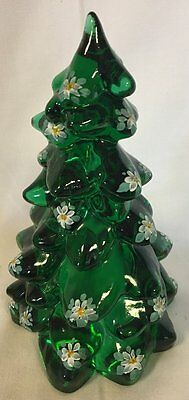 Christmas Holiday Tree - Hunter Green Handpainted Glass - Mosser USA - Large 8""
