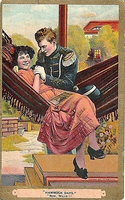 """ANTIQUE COMIC 1909 """"HAMMOCK DAYS... Now, Willie""""  L. R. Conwell NY POSTCARD"""