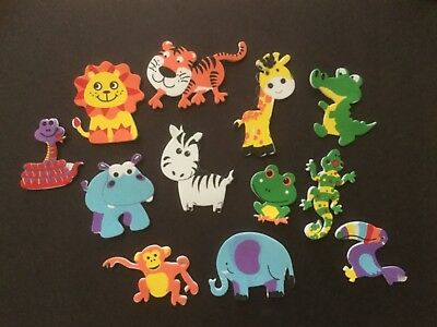 12 X  Zoo Animals / Self Adhesive Foam Shapes / Stickers / Embellishments