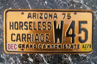 1975 Arizona License Plate, Horseless Carriage,   #  W45 Solid Copper.