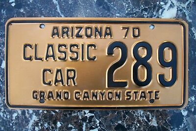 1970 Arizona License Plate, Classic Car,  #289 Ford Mustang, Solid Copper.