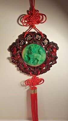 VTG 1960's LARGE Feng Shui Spiritual Chinese Wall Faux Jade Dragon Highly Detail