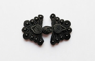 6 pairs black bead butterfly Chinese Frogs closures buttons sewing DIY cheongsam