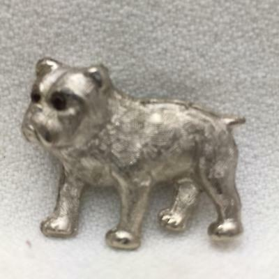 Vintage Silver Color Metal Dog Pin BULLDOG  So cute! Red Rhinestone Eyes