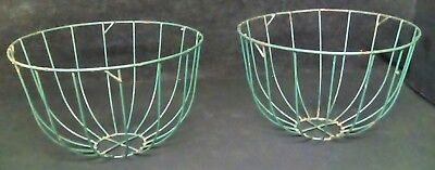 Vintage Green Wire Plant Baskets Garden Flower Planters Primitive Farmhouse