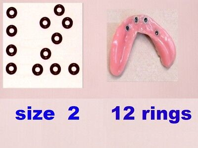 12  o-rings size 2  / intra lock  /  rubber  dental  implant replacement