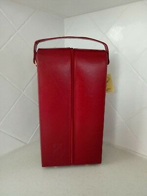 Burgundy buffalo leather two-bottle wine carrier; FREE POST