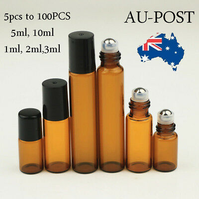 5-100X Roller Ball Perfume Essential Oil Roll On Amber Glass Bottle 3ML 5ML 10ML