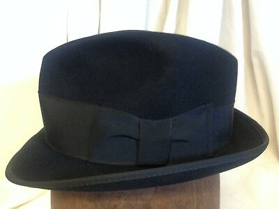 Vintage The Eagle by LEE Mens Stingy Brim Black Fur Felt Fedora Hat -Size 6 5f77b131be6