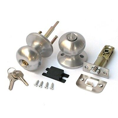 Stainless Keyed Entry Rotation Biscuit Type Door Knobs Handle Entrance Passage