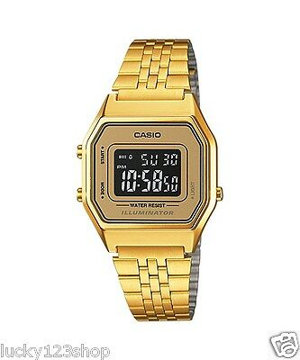 LA680WGA-9B Golg  Casio Stainless Steel Watch Lady Stopwatch Alarm Digital New