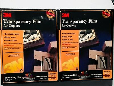 """LOT OF 2!  3M PP2200 Transparency Film for Copiers 8.5"""" x 11"""" ~ 200 Sheets ~ NEW"""