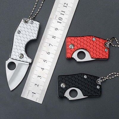 Mini Pocket Stainless Steel Outdoor Survival Camping Folding Blade Knife Chain