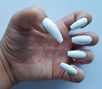 24 Hand Painted False Nails - Brilliant White Coffin Full Cover Gel Nails Tips