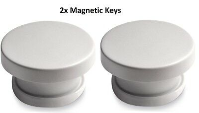 2 Keys - Invisible Magnetic Baby Child Pet Proof Cupboard Door Drawer Safety Key