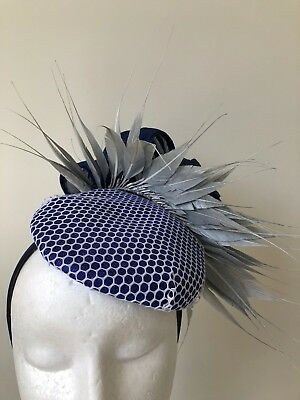 New Blue and grey fascinator with silk feathers on a headband!