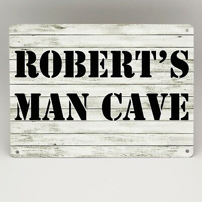 PERSONALISED MAN CAVE SIGN Metal Door Wall Plaque Bar Garage Shed Den Bedroom