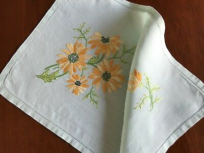 Vintage Hand Embroidered Green Linen Table Centre / Tray Cloth 12X18 Inches