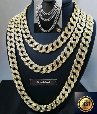 18Ct Gold PlatedFull Iced Out  Created Diamond Miami Cuban Link Chain  16' to 30