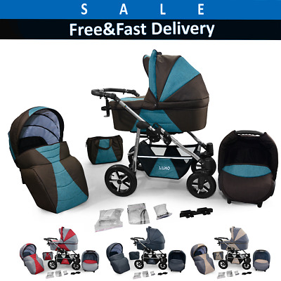 Pram Car Seat Carrycot Travel System 3in1 Pushchair Combi Buggy From Birth ! NEW