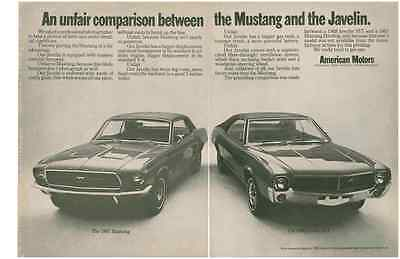 1968 Amc Javelin Sst & 1967 Ford Mustang  ~   Nice Original 2-Page Muscle Car Ad