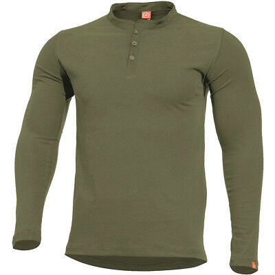 Pentagon Romeo Henley Shirt Base Layer Sport Men Cotton Top Casual Hunting Olive