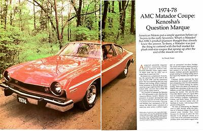 1974-1978 Amc Matador ~ Nice 9-Page Article / Ad