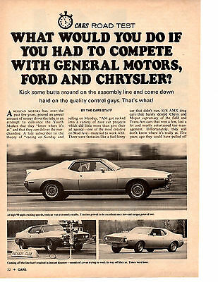 1971 Amc Javelin 401/330-Hp  ~  Rare Original 4-Page Road Test/ Article / Ad