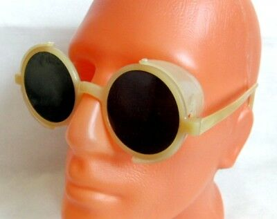 Vintage 1964 USSR Made Protective Goggles Glass Lenses Folding Side Protectors