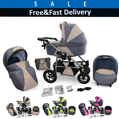 Pram Car Seat Carrycot Travel System 3in1 Pushchair Combi Buggy From Birth NEW I