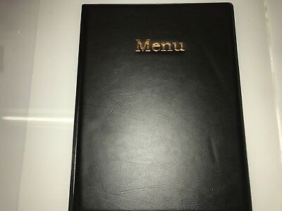 Qty 10 (Ten)A4 Menu Cover/Folder In Black Leather Look Pvc With Copper Blocking