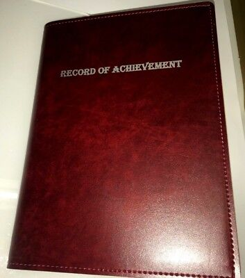 (Pu Leatherette)Top Qualitity  Record Of Achievement A4 Folder - Burgundy/Silver