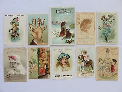 Lot of 10 Vintage Advertising Trade Cards w/Girls, Dogs, Lovely Art Work & Cool