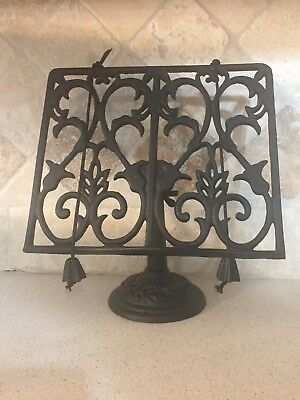 Wrought Cast Iron Cookbook Book Music Adjustable Stand Holder Page Weights