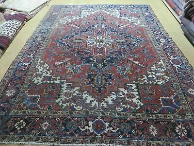 "6'7"" X 9' Antique Hand Made Authentic Persian Heriz Serapi Karajeh Wool Rug Nice"