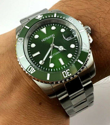 Orologio HERMANN Automatico VERDE HULK DIVER WATCH RELOJ SUBMARINER MIYOTA JAPAN