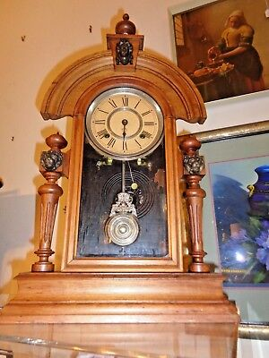 Antique Victorian Ansonia Mantel Clock Quality Walnut Case and all Fittings