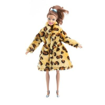 barbie doll clothes accesories fur winter Coat leopard white and black stripes