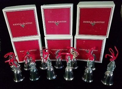 VINTAGE Reed and Barton 12 Twelve Days of Christmas Bells Silverplate R&B Boxes