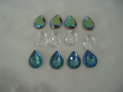 beading supplies, lot of vintage undrilled faceted glass cabachons/new/pre-owned