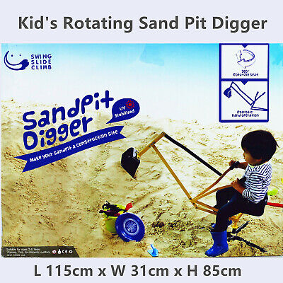 Kid Outdoor Metal Pretend Toy 360 Deg Rotating Sand Pit Digger Ride On Excavator