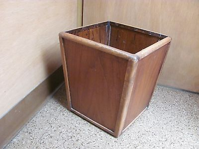 Vintage Walnut Wooden Trash Can Waste Bin