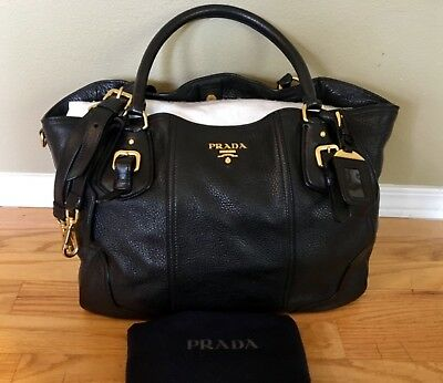 73e25edd4bb8 Auth PRADA Cervo Antik Black Deerskin Tote Satchel Crossbody Shoulder Bag  Large