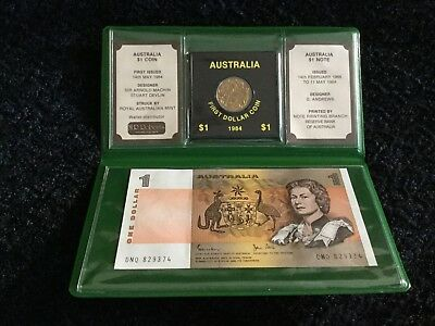 AUSTRALIA 1984 UNCIRCULATED LAST $1 NOTE AND FIRST $1 COIN - pack