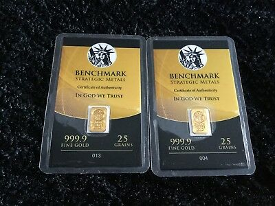 Pure 999.9 fine Gold Bullion 25 gr x 2 | 2 x 25 Grain 24k fine Bar  Certificate