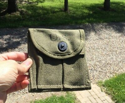 Org WW2 Dated US Military M-1 M1 Carbine Canvas Ammo Pouch For Belt Buttstock