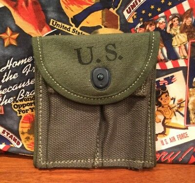 WW2 US Military USGI M-1 M1 Carbine Canvas Ammo Pouch Biscayne Tent & Awning Co