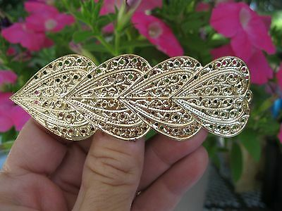 Vintage New Gold Lightweight Metal Hair Barrette French Clip Heart 80's Unique