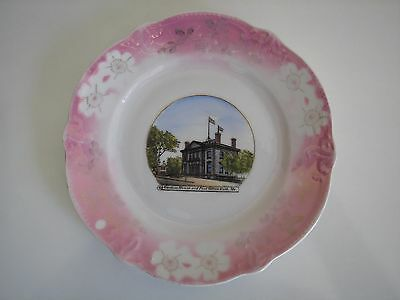 Antique Bath Maine Customs House Souvenir Plate Made in Germany for F.M. Wood